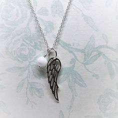 Angel Wing Pendant, Sterling Silver Necklace, Mother of Pearl, Wedding Gift, Gift for Her