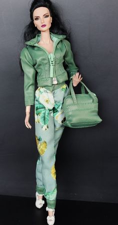 Galiana Designs Fashion Royalty doll Outfit FR2 green leather jacket flower pant