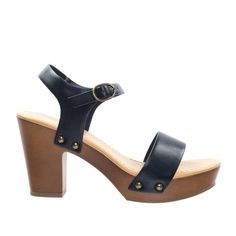 2c38780125187c Chivas by Soda Retro Metal Stud Detail Faux Wooden Block Heel Platform  Sandal
