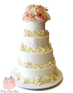 Hydrangea and Rose White Wedding Cake by Pink Cake Box in Denville, NJ.