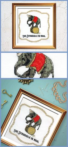Loving this funny cross stitch pattern of a circus elephant!