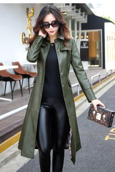 Women's Coat Long Leather Plus Size Turn Collar Single Covered Button Outwear Women's Coat Long Leather Plus Size Turn Collar Single Covered Button Outwear - Fashion Style Long Leather Coat, Pu Leather, Leather Trench Coat, Winter Fashion Casual, Casual Winter, Trendy Fashion, Fashion Ideas, Leather Jacket Outfits, Looks Chic