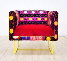 Suzani box armchair - yellow sun by namedesignstudio on Etsy https://www.etsy.com/listing/220958601/suzani-box-armchair-yellow-sun