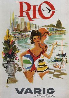 Rio Varig Airlines 1960 Vintage Airline Poster by ElysiumPrints