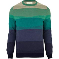green tonal block stripe jumper - jumpers - jumpers / cardigans - men - River Island