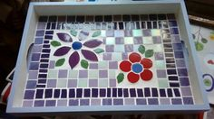 Mosaic Tile Designs, Mosaic Tiles, Mosaics, Mosaic Tray, Trays, Stained Glass, Projects To Try, Kids Rugs, Ideas