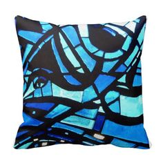 Abstract Blue Stained Glass Bird Throw Pillow