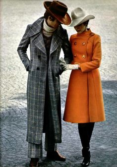 His jacket is wicked! Much cooler than her jacket (or the hats...) -Cardin Homme L'officiel magazine, 1970.
