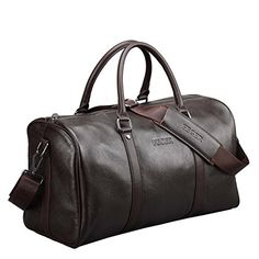 Mens Italian Leather Travel Tote Luggage Weekend Duffel Bag Classic Overnight Shoulder Bag Brown * Find out more about the great product at the image link.