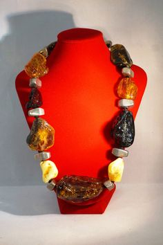 Unique BALTIC AMBER NECKLACE Massive Amber sterling by ANTIQUE4YOU