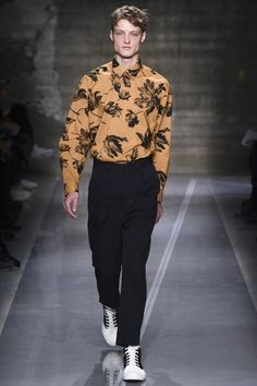 Floral pattern caramel shirt with black pants and white and black spats shoes, Milano Men's Fashion Week