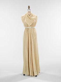Evening Dress, Evening Gown, Splendid Evening Dress Design, Fashion Designer, Evening Dress Designer, Miracle Gown    Elizabeth Hawes  (American, 1903–1971)  Date: ca. 1935 Culture: American Medium: wool, silk, leather