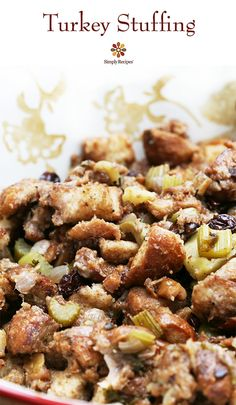 I've never tasted any turkey stuffing that has come close to as good as mom's. Classic Thanksgiving turkey stuffing recipe made with French bread cubes toasted in butter, walnuts, onion, celery, apple, green olives, and stock made from turkey giblets. On SimplyRecipes.com
