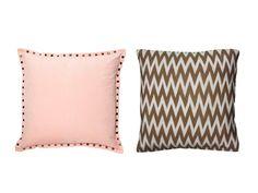 "Pink and Brown: (left) Payton 19"" x 19"" polyester velvet pillow, $39, dormify.com; (Right) Rizzy Home Chevron 20"" x 20"" cotton pillow cover, $53, wayfair.com; Insert, from $11.50, pillowflex.com"
