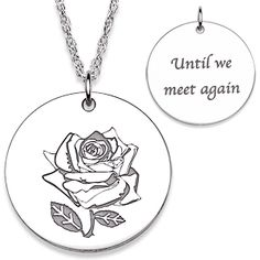 Sterling Silver Memorial Rose Engraved Necklace
