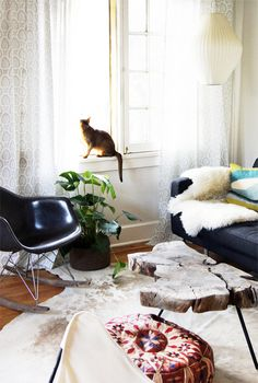 I still remember seeing this makeover for the first time. It totally blew my mind (and still does). This is just a perfect combination of vintage, modern, plants and pet !