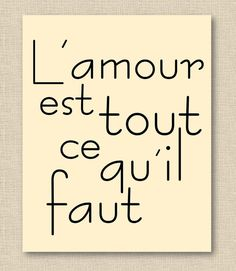 All You Need Is Love in French // Modern Font // 8x10 Inch Fine Art Print // PO // Beige Black // Choose Your Colors