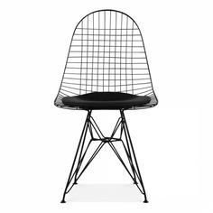 Reproduction of DKR Eiffel Black Wire Chair Material: Black wire with black PU leather cushion Dimensions: W x D x H Our products are not . Modern Dining Chairs, Upholstered Dining Chairs, Wire Chair, Black Cushions, Chair Price, Charles & Ray Eames, Scandinavian Furniture, Metal Chairs, Mid Century Modern Furniture