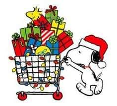 snoopy pushing cart full of christmas gifts with woodstock sitting on top of gifts christmas snoopy - Snoopy Christmas Gifts