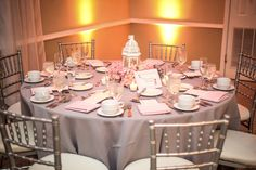 Lantern Wedding Centerpieces with Grey Linens and Silver Chiavari Chairs