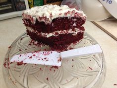 What's left of Grandmother's red velvet cake this morning. I wanted a pic before it was cut but nobody could wait.