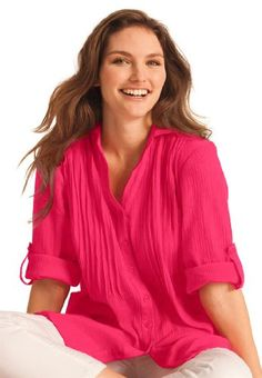Plus Size Shirt In Tunic Length In Cool Cotton Gauze - Listing price: $49.77 Now: $29.77