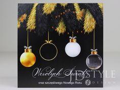 Fajne kartki świąteczne dla firm w kolorach czerni i złota. Design