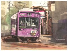 Artist Masato Watanabe  [Streetcar] Watercolor  路面電車 京都嵐電 水彩 Arches Watercolor Paper Hot Pressed アルシュ極細目 26×36cm  2013年6月