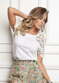 Floral skirt and lace blouse