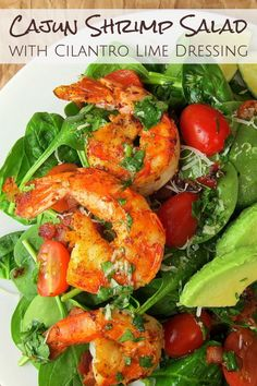 Succulent, perfectly cooked shrimp, crispy bacon, and fresh veggies in this Keto Cajun Shrimp Salad. Topped with a homemade Cilantro Lime Dressing. Eating your veggies never tasted so good! Healthy and naturally gluten free. Cajun Shrimp Recipes, Cilantro Recipes, Shrimp Salad Recipes, Best Salad Recipes, Seafood Recipes, Keto Recipes, Clean Recipes, Healthy Recipes, Prawn Salad