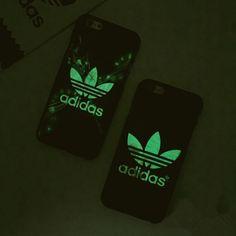 Adidasおしゃれブランド夜光スマホケースiPhone7/7 Plus/6S plusアイフォン5S/SEハードケース縞模様携帯カバーかっこいい男女向け