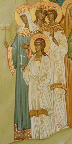 Alexandra, Maria, Tatiana, Anastasia  Moscow. 2005.] All Saints Resplendent in the Russian Land (fragment). Masyukova NV (Icon painting school). Icon. Sergiev Posad. 2004 - 2005 years. Temple St.. Nicholas Glinka. Vologda.