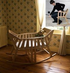 Clever! A baby cradle that can become two rocking chairs…