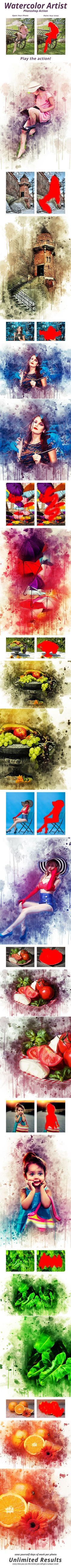#Watercolor #Artist #Photoshop Action - Photo Effects Actions