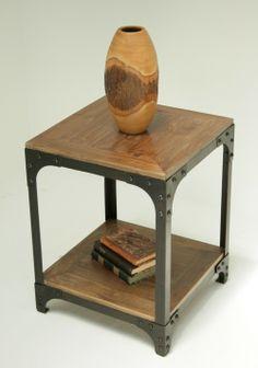 ET178: Reclaimed Teak Side Table with Iron Frame (6) - $250