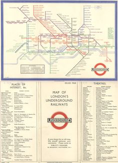 1933  MAP OF LONDON'S UNDERGROUND RAILWAYS   A new design for an old map.   Designed by Harry Beck