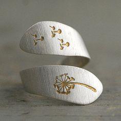 925 handgestempelter Pusteblumen Ring bicolor by Villa Sorgenfrei Schmuckmanufaktur