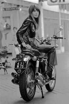 Françoise Hardy on a Honda (c.1970s?)