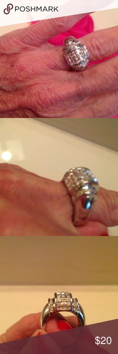 Simulated Diamond Ring Beautiful stacked stones to make an outstanding looking ring.  Silver plated. Jewelry Rings