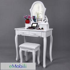 SEA110 http://www.emobili.ro/cumpara/sea110-set-masa-alba-toaleta-cosmetica-machiaj-oglinda-masuta-136 #eMobili