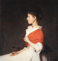 Frank Weston Benson - Girl in a red shawl, 1890.