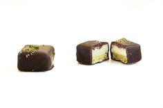 Fresh Chocolates - Pistachio Marzipan Dark Marzipan, Restaurant Recipes, Melting Chocolate, Pistachio, Chocolates, Preserves, Cheesecake, Fresh, Dark