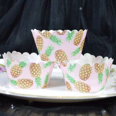 Edible Cupcake Wrappers Pink Pineapple Tropical Chintz x 12 Wafer Rice Paper Fruits Patterned Fairy Cake Cupcake Wedding Tea Party Favours by WicksteadsEatMe on Etsy https://www.etsy.com/listing/268524014/edible-cupcake-wrappers-pink-pineapple