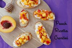 Make this easy appetizer for a party! Fresh peaches with smooth ricotta and crispy bread. Perfect for kids and adults!