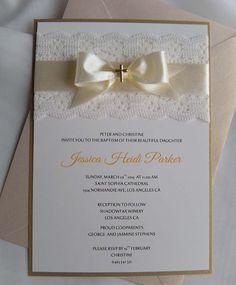 Gold Baptism Invitation Christening Invitation Wedding by JRTDaisy