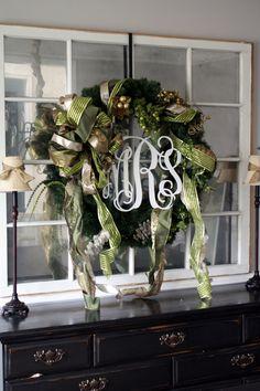 Monogrammed wreath from rusticweddingchic.com