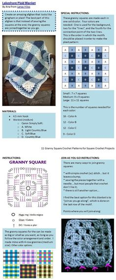 I like the gingham check square arrangement on this one. One never gets enough of grannys! easy cosy crochet blanket! #CrochetPatternsGrannySquares