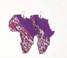 Glitter XL Africa Earrings in Ankara/ African by teeesdesigns, $20.00