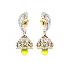 Peacock ruby sapphire jhumkas diamond earrings djer5723