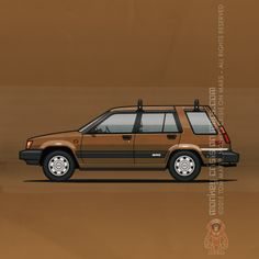 Toyota Tercel WagonSR5 4WD (1984) – Car Art by Monkey Crisis On Mars #Toyota #RetroRide #Bronze #Wagon #80s